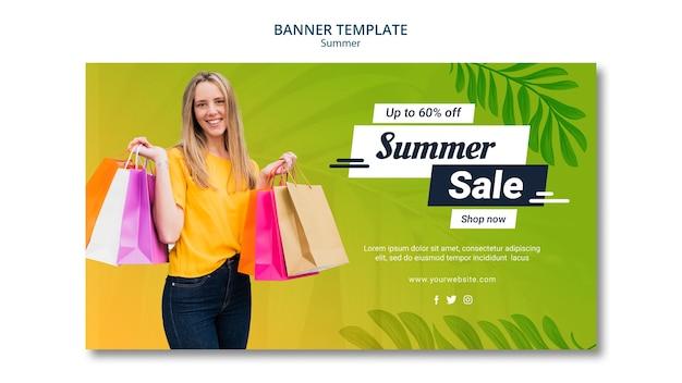 Design de modelo de banner de venda verão