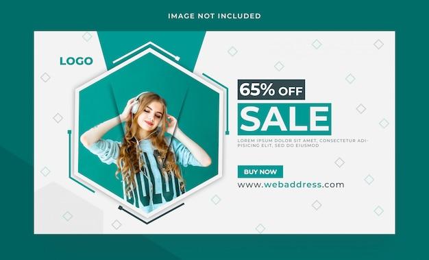Design de modelo de banner de web de venda de moda