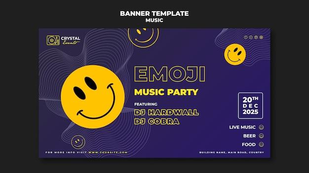 Design de modelo de banner para festa de música emoji