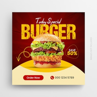 Design de modelo de banner promocional da web para restaurante de comida, mídia social pós-quadrado