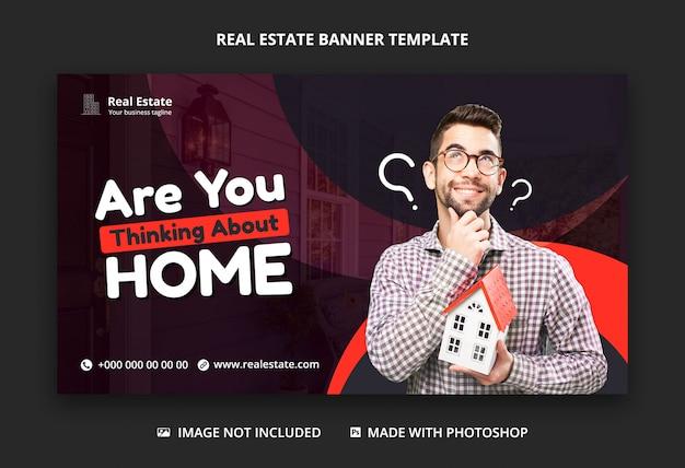 Design de modelo de banner web social imobiliária