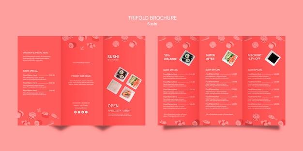 Design de modelo de brochura de sushi