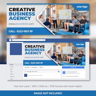 Design de modelo de capa de cronograma de agência de negócios criativos no facebook