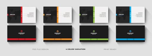 Design de modelo de cartão de visita limpo e escuro