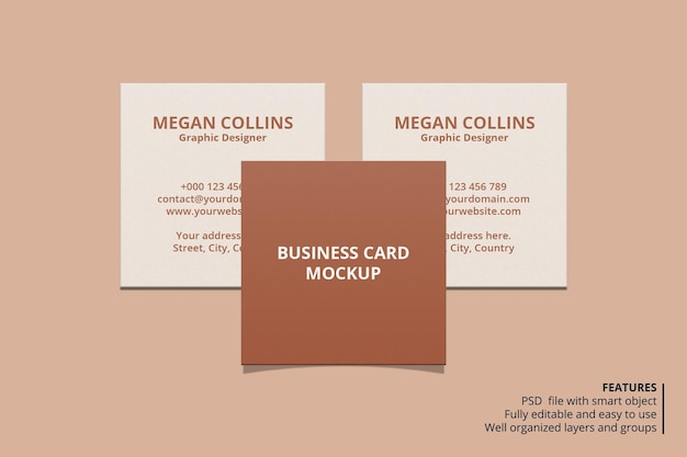 Design de modelo de cartão de visita quadrado mínimo