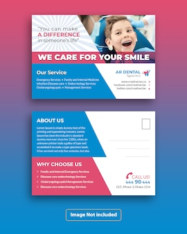 Design de modelo de cartão postal dental