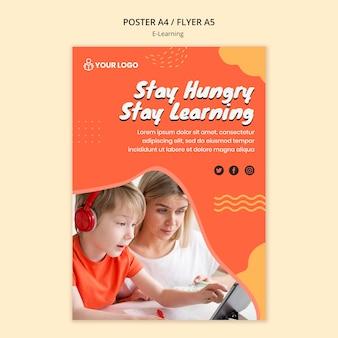 Design de modelo de cartaz de aprendizagem e