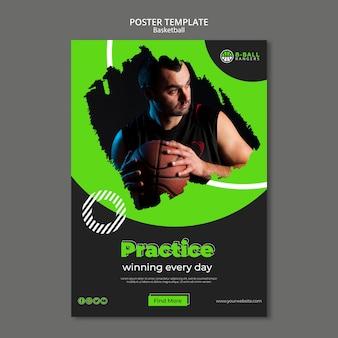 Design de modelo de cartaz de basquete