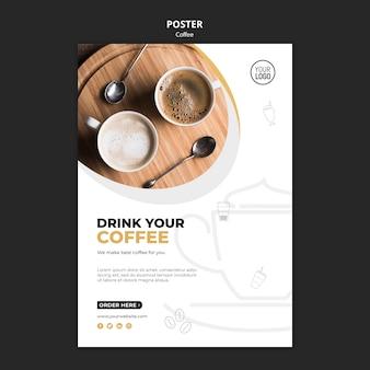 Design de modelo de cartaz de café