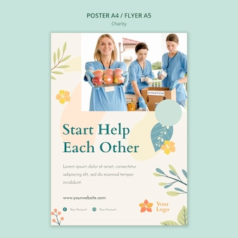 Design de modelo de cartaz de caridade