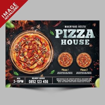 Design de modelo de cartaz de casa de pizza
