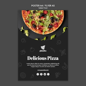 Design de modelo de cartaz de comida italiana