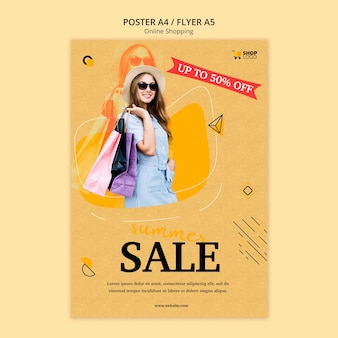 Design de modelo de cartaz de compras online
