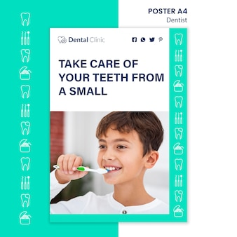 Design de modelo de cartaz de conceito de dentista