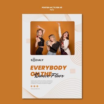 Design de modelo de cartaz de conceito de festa