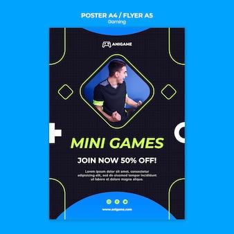 Design de modelo de cartaz de conceito de jogos