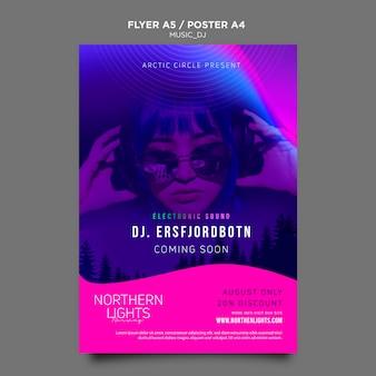 Design de modelo de cartaz de dj de música
