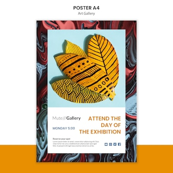 Design de modelo de cartaz de galeria de arte
