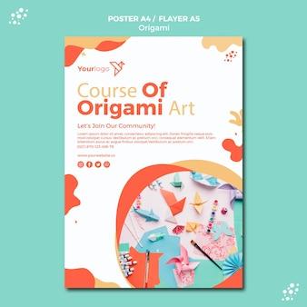 Design de modelo de cartaz de origami