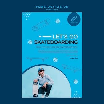 Design de modelo de cartaz de skatista