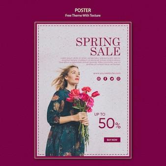 Design de modelo de cartaz de venda primavera
