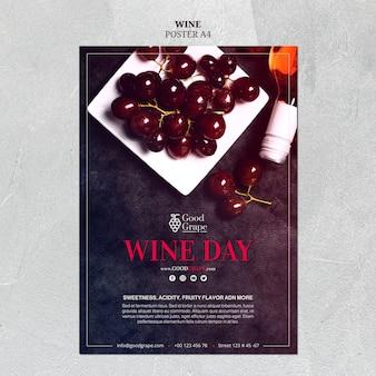 Design de modelo de cartaz de vinho