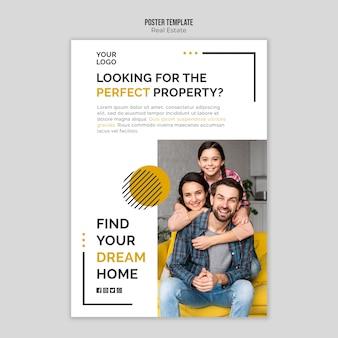 Design de modelo de cartaz imobiliário