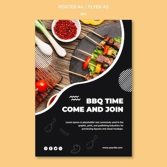 Design de modelo de cartaz para churrasco