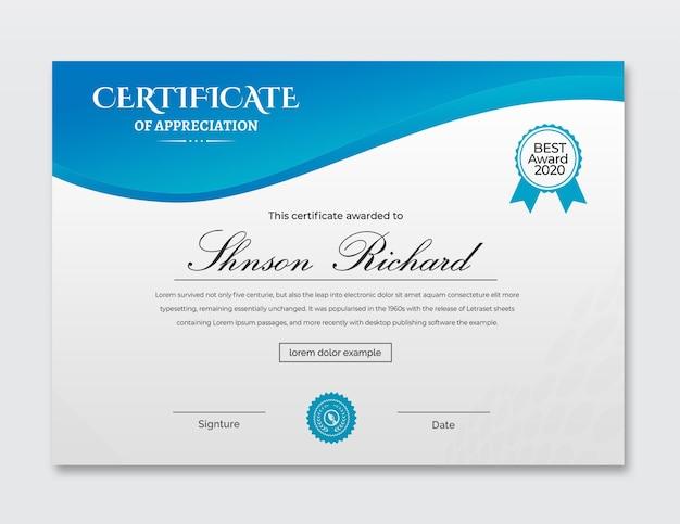 Design de modelo de certificado de conquista em ciano