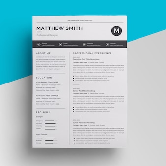 Design de modelo de currículo mínimo de negócios