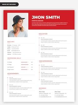 Design de modelo de currículo profissional limpo vermelho cv com foto