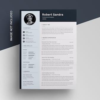 Design de modelo de currículo profissional moderno