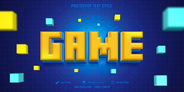 Design de modelo de efeito de estilo de texto 3d para jogos