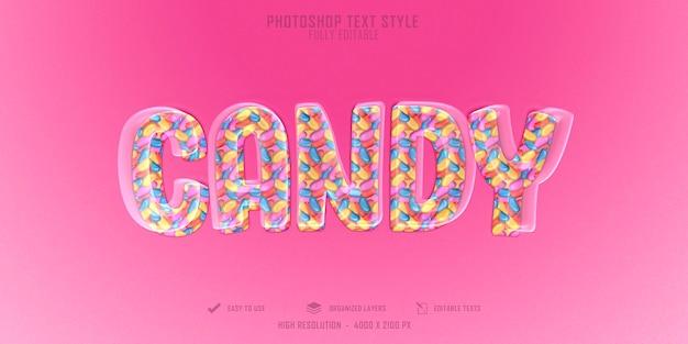Design de modelo de efeito de estilo de texto 3d pinck candy