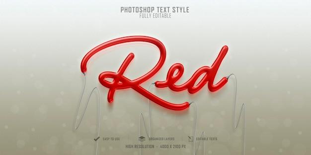 Design de modelo de efeito de estilo de texto 3d vermelho