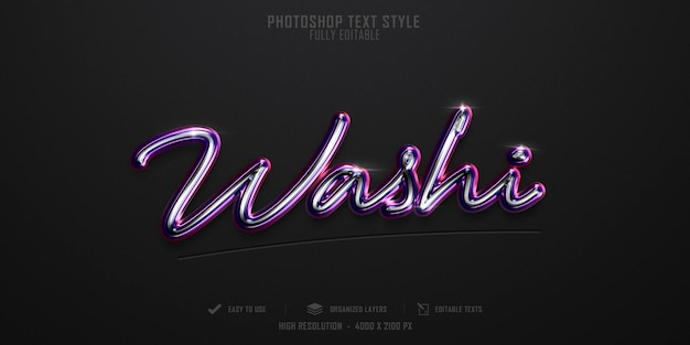 Design de modelo de efeito de estilo de texto 3d washi