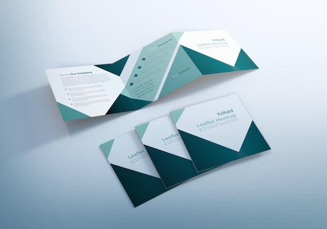Design de modelo de folheto com três dobras quadradas