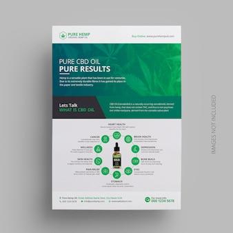 Design de modelo de folheto de produto de óleo de cânhamo de cannabis