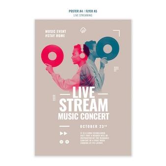 Design de modelo de folheto de streaming de música ao vivo