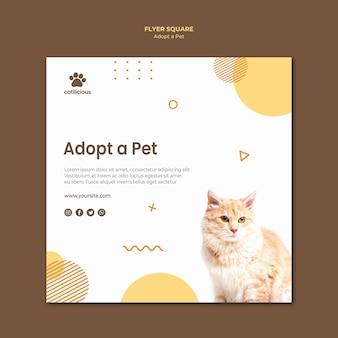 Design de modelo de folheto quadrado de adoção de animais