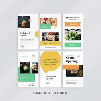 Design de modelo de histórias de comida no instagram
