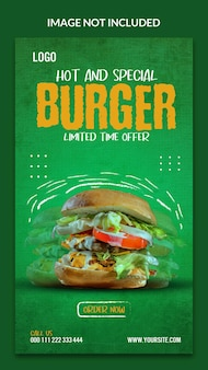 Design de modelo de histórias de hambúrguer delicioso no instagram