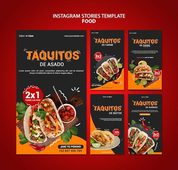 Design de modelo de histórias de instagram de alimentos