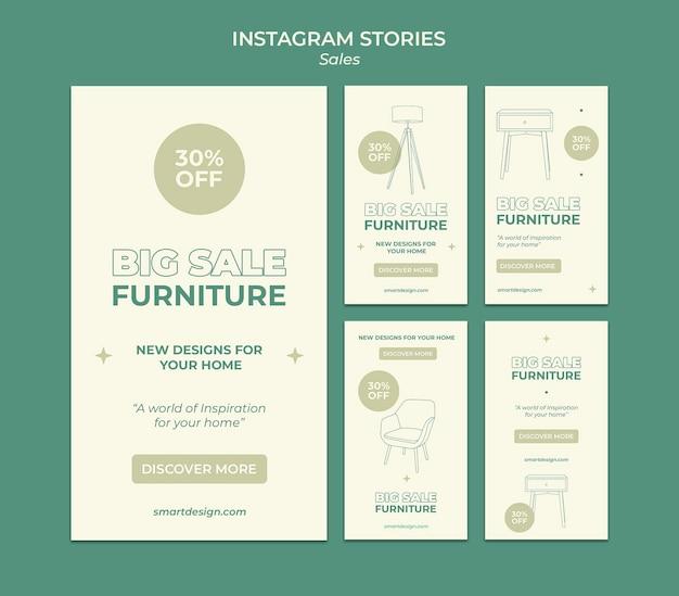 Design de modelo de histórias insta de vendas