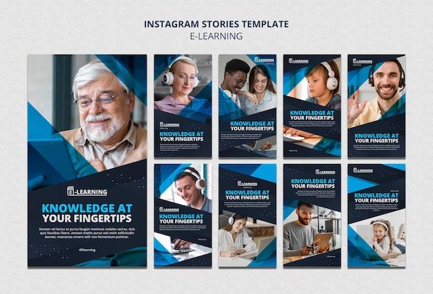 Design de modelo de histórias insta e-learning