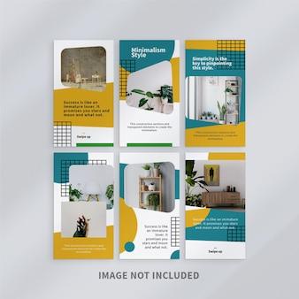 Design de modelo de histórias mínimas do instagram Psd Premium