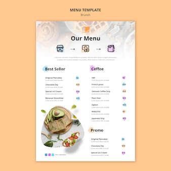 Design de modelo de menu de brunch