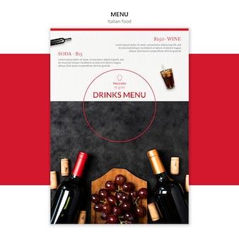 Design de modelo de menu de cozinha italiana