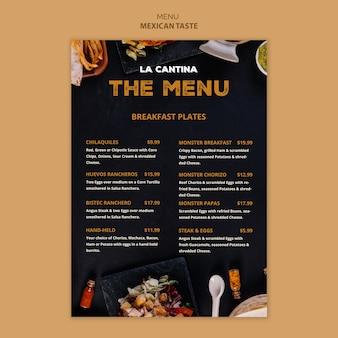 Design de modelo de menu de restaurante mexicano