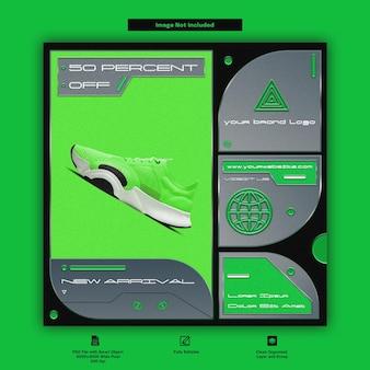 Design de modelo de mídia social para promoção de vendas de moda e tênis